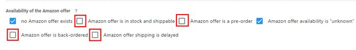 Availability of the Amazon offerの項目の中から、上記の項目のチェックを外す