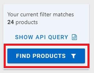 FIND PRODUCTSの青いボタンをクリック