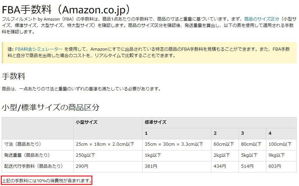 FBA手数料(Amazon.co.jp)